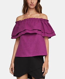 BCBGMAXAZRIA Flounced Off-The-Shoulder Top