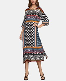 BCBGMAXAZRIA Printed Midi Dress