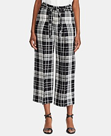 Lauren Ralph Lauren Petite Plaid-Print Wide-Leg Pants