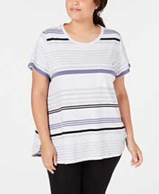 Calvin Klein Performance Plus Size Vista Striped Top