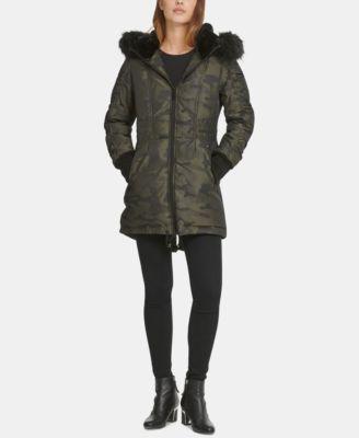 Faux-Fur-Trim Camo-Print Puffer Coat