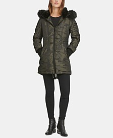 Faux-Fur-Trim Camo-Print Puffer Coat