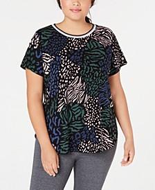 Plus Size Printed Cap-Sleeve T-Shirt