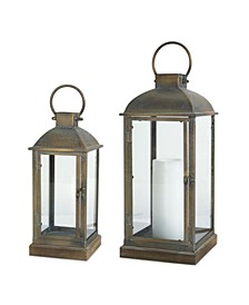 Melrose International Lantern Set of 2 Metal Glass