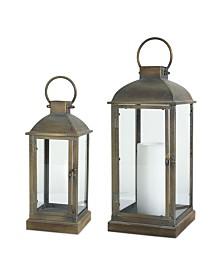 Melrose International Lantern Set of 2 Metal Glass