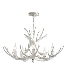 "Eldora 30"" Adjustable Resin Antler 5-Light LED Chandelier"