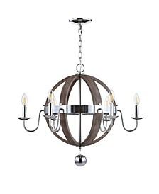 "Georgia 28.5"" Wood/Metal Adjustable LED Chandelier"