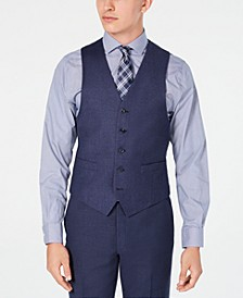 Men's Classic/Regular Fit Airsoft Stretch Blue Flannel Suit Vest
