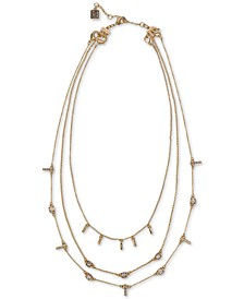 "Gold-Tone Crystal & Bar Layered Collar Necklace, 16"" + 2"" extender"