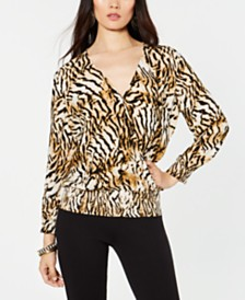 I.N.C. Animal-Print Surplice Top, Created for Macy's
