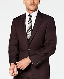 Men's X-Fit Slim-Fit Stretch Burgundy Textured Suit Jacket