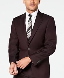 Calvin Klein Men's X-Fit Slim-Fit Stretch Burgundy Textured Suit Jacket