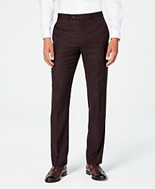 Men's X-Fit Slim-Fit Stretch Burgundy Textured Suit Pants