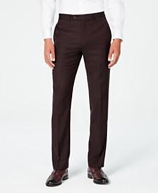 Calvin Klein Men's X-Fit Slim-Fit Stretch Burgundy Textured Suit Pants