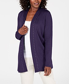 Cotton Studded Open-Front Cardigan, Created for Macy's