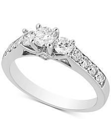 Diamond Three-Stone Engagement Ring (1 ct. t.w.) in 14k White Gold