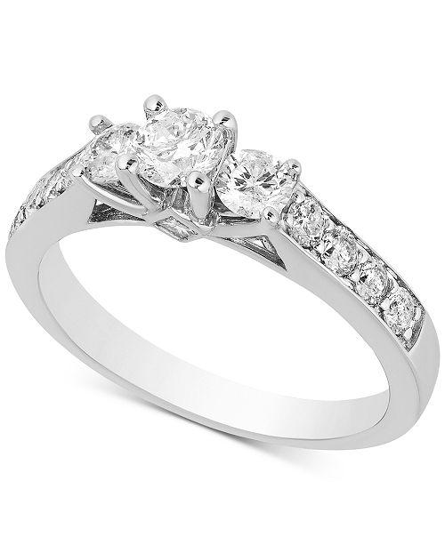 Macy's Diamond Three-Stone Engagement Ring (1 ct. t.w.) in 14k White Gold