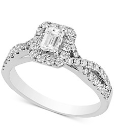 Diamond Twist Halo Engagement Ring (1 ct. t.w.) in 14k White Gold