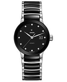Rado Women's Swiss Automatic Centrix Diamond-Accent Black Ceramic & Stainless Steel Bracelet Watch 28mm
