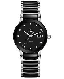 Rado Women's Swiss Automatic Centrix Diamond-Accent Black Ceramic & Stainless Steel Bracelet Watch 28mm