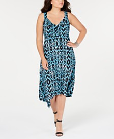 I.N.C. Plus Size Printed Sleeveless Handkerchief-Hem Dress, Created for Macy's
