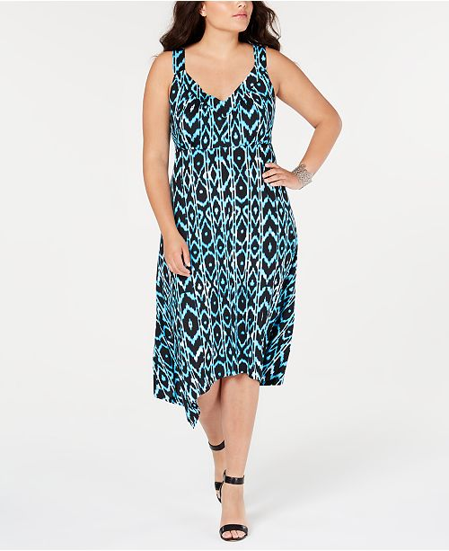INC Plus Size Printed Sleeveless Handkerchief-Hem Dress, Created for Macy\'s