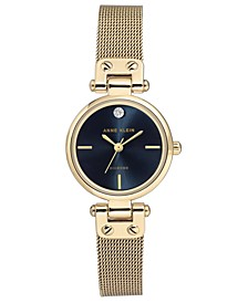Women's Gold-Tone Mesh Bracelet with Genuine Diamond