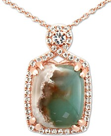 "Le Vian® Peacock Aquaprase (12 x 10mm) & Vanilla Topaz (1/4 ct. t.w.) 18"" Pendant Necklace in 14k Rose Gold"