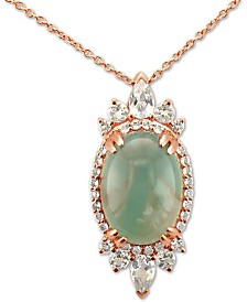 "Le Vian® Peacock Aquaprase (14 x 10mm) & Vanilla Topaz (1 ct. t.w.) 18"" Pendant Necklace in 14k Rose Gold"
