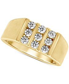 Men's Diamond Three-Row Ring (3/4 ct. t.w.) in 10k Gold