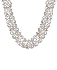 """Baroque Cultured Pink Freshwater Pearl (11-12mm) Three-Strand 16"""" Collar Necklace (Also in Baroque Cultured White Freshwater Pearl )"""