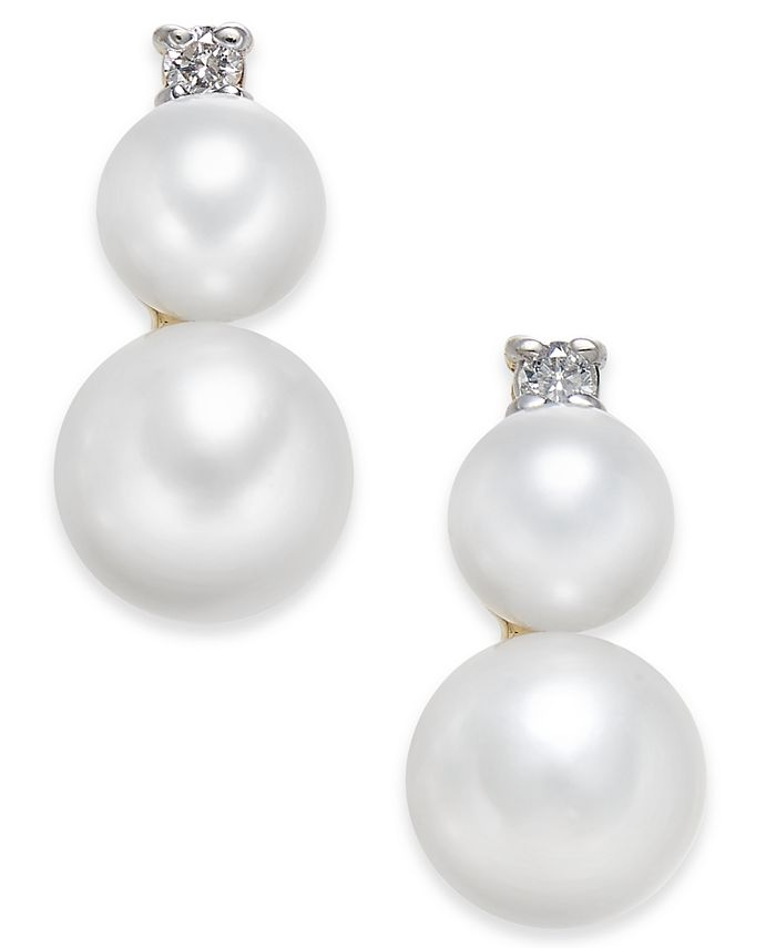 Macy's - Cultured Freshwater Pearl (5mm & 7mm) & Diamond Accent Stud Earrings in 14k Gold
