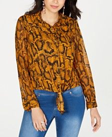 Thalia Sodi Snake Print Button Up Blouse, Created for Macy's