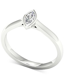 Diamond Marquise Solitaire Ring (1/5 ct. t.w.) in 14k White Gold