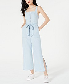 Cotton Split-Leg Denim Jumpsuit