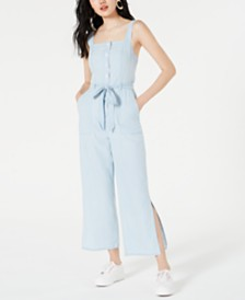 OAT Cotton Split-Leg Denim Jumpsuit