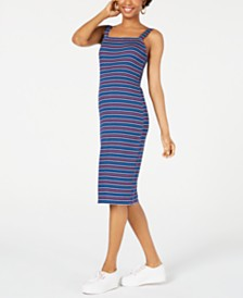 Ultra Flirt Juniors' Striped Bodycon Midi Dress