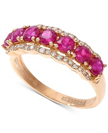 EFFY®Certified Ruby (1-5/8 ct. t.w.) & Diamond (1/8 ct. t.w.) Statement Ring in 14k Rose Gold