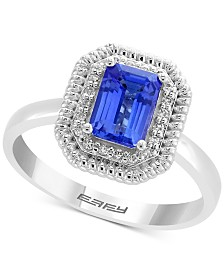 EFFY® Tanzanite (9/10 ct. t.w.) & Diamond Accent Halo Statement Ring in 14k White Gold