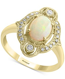 EFFY® Opal (5/8 ct. t.w.) & Diamond (1/8 ct. t.w.) Halo Ring in 14k Gold