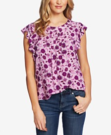 CeCe Printed Pleated Top