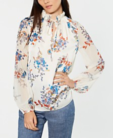 Elie Tahari Teagan Floral-Print High-Neck Top