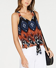 INC Petite Tie-Front Chiffon Top, Created for Macy's