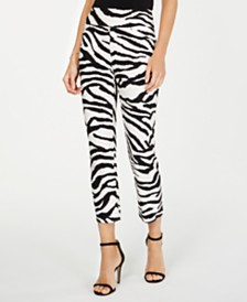 I.N.C. Zebra-Print Cropped Skinny Pants, Created for Macy's
