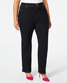 I.N.C. Plus Size Straight-Leg Tummy Control Jeans, Created for Macy's