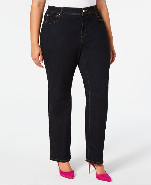 INC International Concepts I.N.C. Plus Size Tummy-Control Straight-Leg Jeans, Created for Macy's