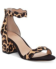 INC Hadwin Scallop Block-Heel Sandals, Created for Macy's