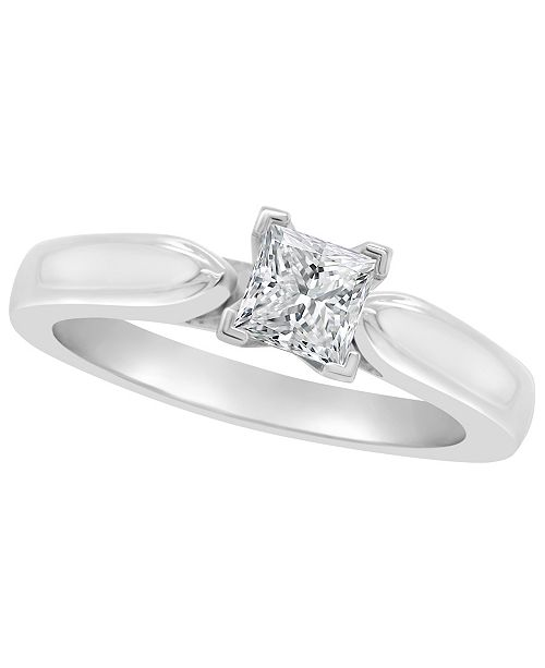 Macy's Certified Princess Cut Diamond Solitaire Engagement Ring (1/2 c.t. t.w.) in 14k White Gold, Rose Gold, or Yellow Gold
