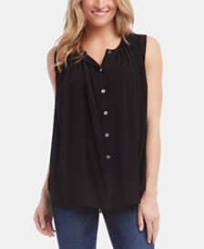 Karen Kane Sleeveless Button-Front Pleated Top