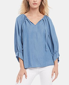 Blouson-Sleeve Chambray Top